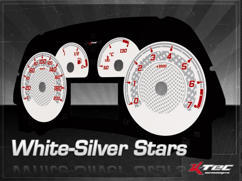 Tachodesign White Silver Stars