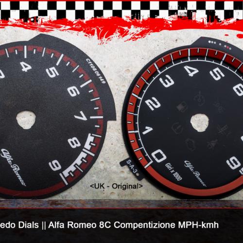 Tachoscheiben Alfa Romeo 8C Competizione im Vergleich